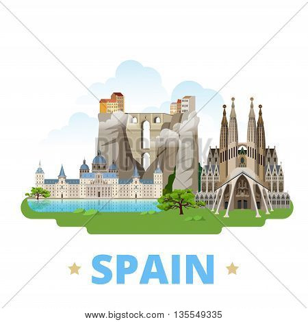 Spain country design template Flat cartoon style web vector