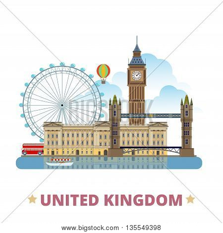 United Kingdom country design template Flat cartoon style vector