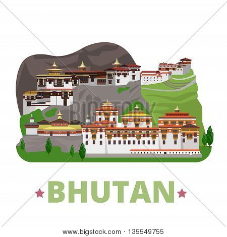 Bhutan country design template Flat cartoon style web vector