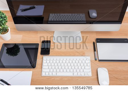 Top View Computer Pc Monitor And Keyboard With Phone
