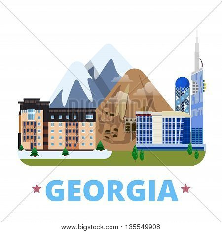 Georgia country design template Flat cartoon style web vector