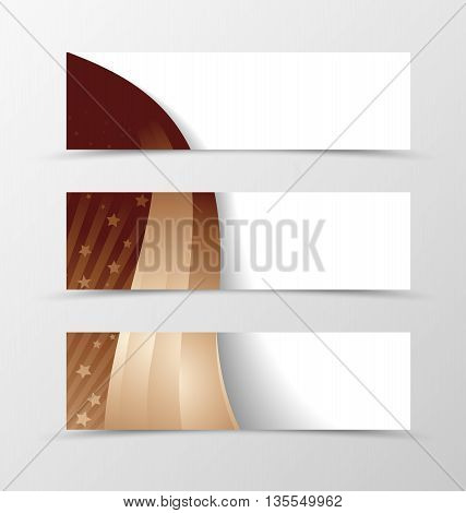 Set of banner wavy design. Brown banner for header with rays and stars. Design of banner in cofee with milk color. Vector illustration
