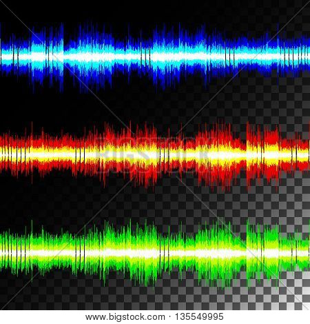 Visual sound waves on transparent black background isolate. Special effects vector multicolored equalizer.