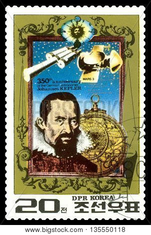 STAVROPOL RUSSIA - May 31 2016: a stamp printed in DPR Korea shows Johann Kepler - the great German mathematician astronomer mechanic optician. 350th anniversary Death circa 1980