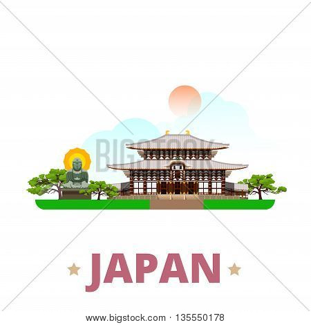 Japan country design template Flat cartoon style web vector