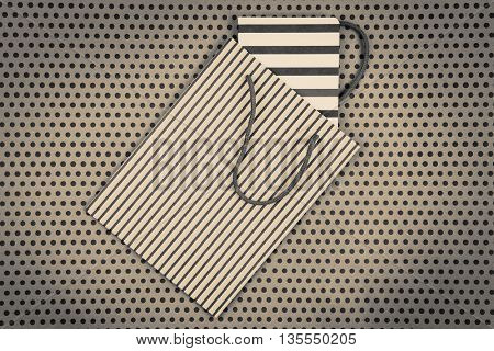Handmade Striped Shopping Bag, Gift Bags And Notepad On Craft  Paper Background In Polka Dots