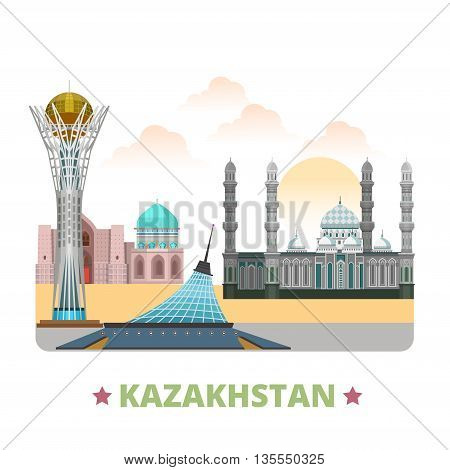 Kazakhstan country design template Flat cartoon style web vector