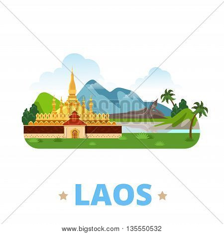 Laos country design template Flat cartoon style web vector