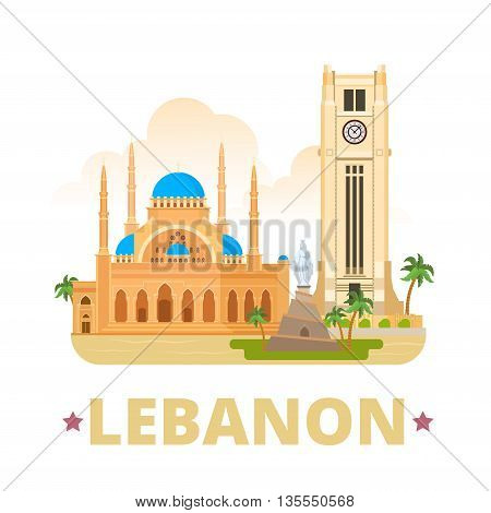 Lebanon country design template Flat cartoon style web vector