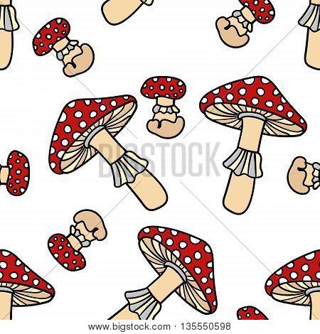 Mushroom seamless pattern. Cute cartoon animal background. Boho striped. Vector