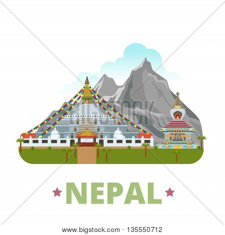 Nepal country design template Flat cartoon style web vector