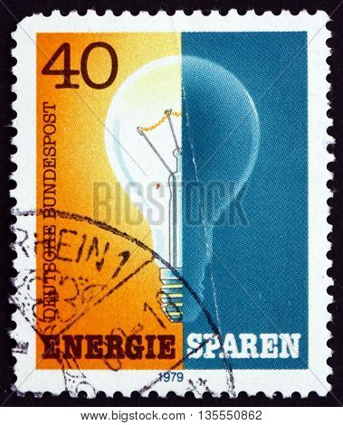 GERMANY - CIRCA 1979: a stamp printed in the Germany dedicated to Energy Conservation Saving Energy circa 1979
