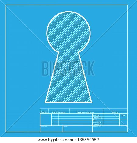 Keyhole sign illustration. White section of icon on blueprint template.