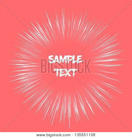 Vector template card with fireworks effect. Background with salmon color fireworks effect. Card with sample text. Template for various use such as birthday card postcard gift tag wallpaper etc.