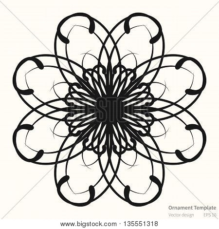 Vector circular abstract ornament pattern. Round ornament on light background. Original circular ornament in dark color. Ornament is in outlines. Vector ornament pattern for various use.