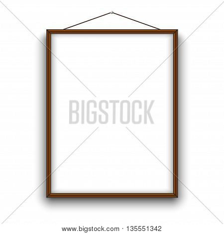 Empty A4 sized vector paper frame mockup hanging with rope. Illustration mockup