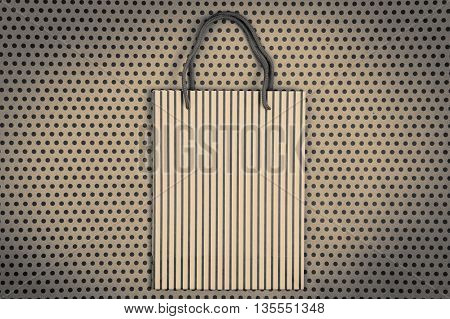 Celebratory Monochrome Concept - Handmade Striped Shopping Bag, Gift Bags On Craft  Paper