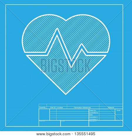 Heartbeat sign illustration. White section of icon on blueprint template.