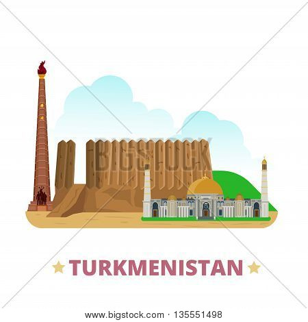 Turkmenistan country design template Flat cartoon style vector