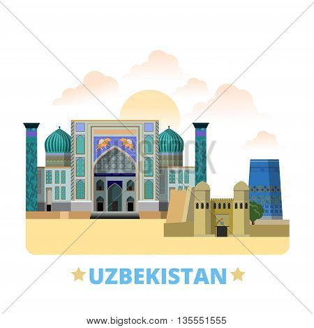 Uzbekistan country design template Flat cartoon style web vector