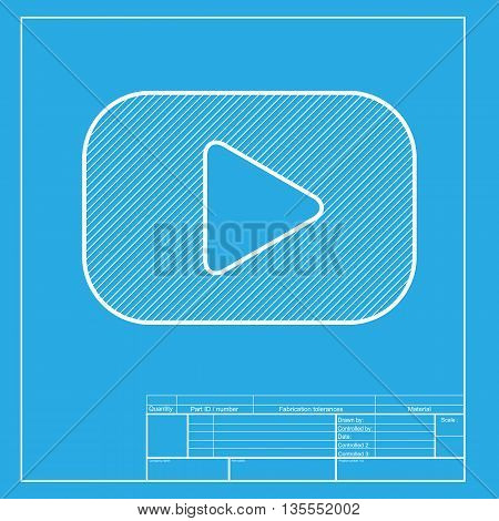 Play button sign. White section of icon on blueprint template.