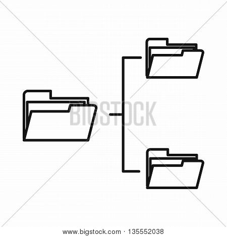 Folders structure icon in outline style isolated on white background