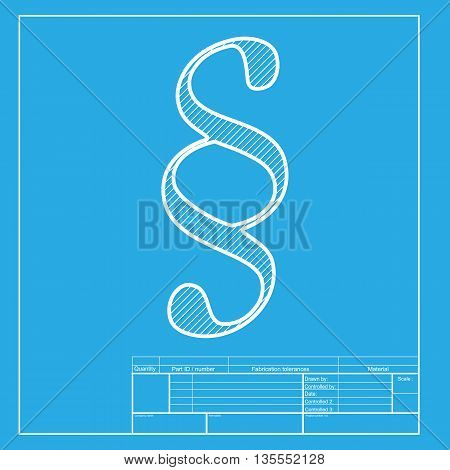 Paragraph sign illustration. White section of icon on blueprint template.