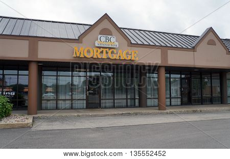 SHOREWOOD, ILLINOIS / UNITED STATES - AUGUST 30, 2015: One may obtain a mortgage from the CBC National Bank in Shorewood's Apple Tree Plaza.