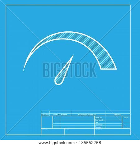 Speedometer sign illustration. White section of icon on blueprint template.