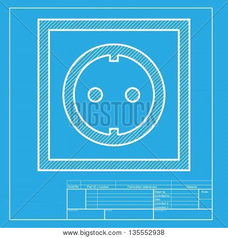Electrical socket sign. White section of icon on blueprint template.