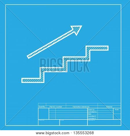 Stair with arrow. White section of icon on blueprint template.