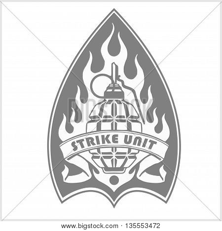 Military and biker patch - vector illustration isolated on white