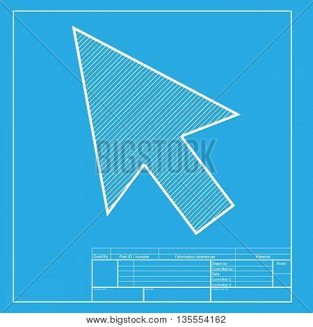 Arrow sign illustration. White section of icon on blueprint template.
