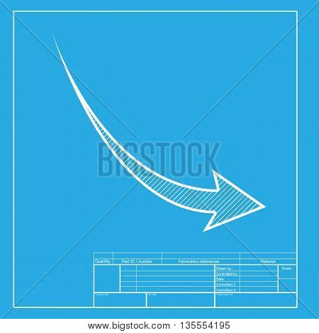 Declining arrow sign. White section of icon on blueprint template.