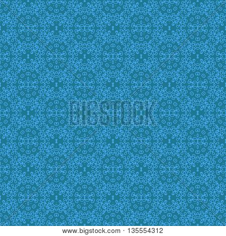 Seamless Texture on Blue. Element for Design. Ornamental Backdrop. Pattern Fill. Ornate Floral Decor for Wallpaper. Traditional Decor on Background