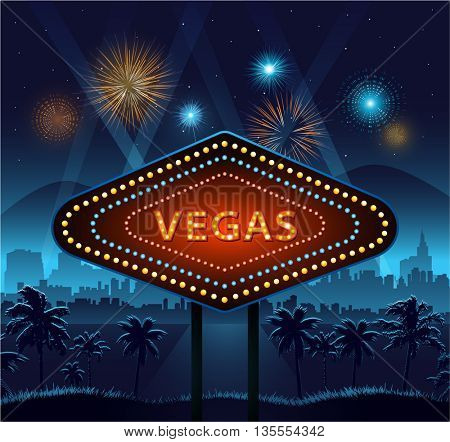 Vegas city sign at night and city background with lights and fireworks