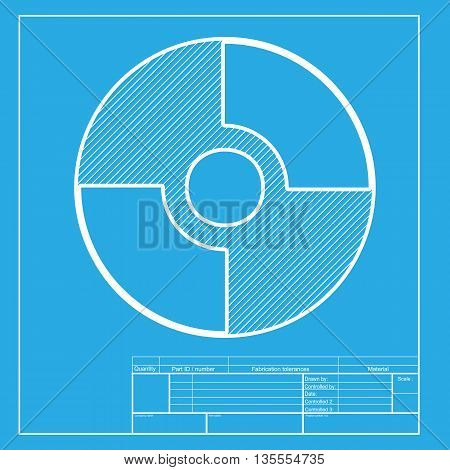Vector CD or DVD sign. White section of icon on blueprint template.