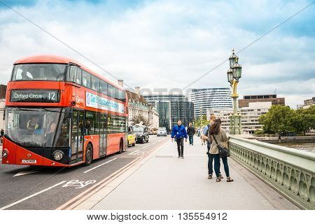 LONDON, UNITED KINGDOM - June 21, 2016. Street view of Beautiful and Antique London Bridge. London, United Kingdom
