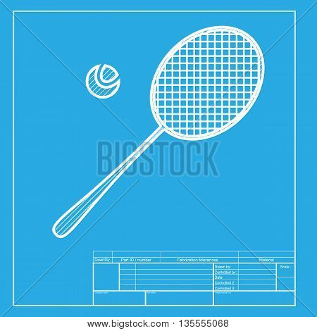 Tennis racquet sign. White section of icon on blueprint template.