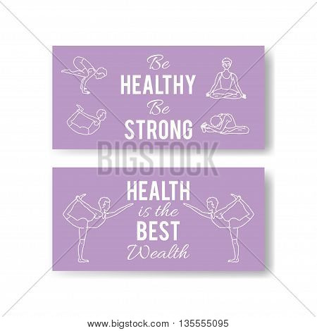 Vector yoga poses banners. Asana illustrations. International yoga day.