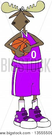 Illustration of a bull moose in a basketball uniform holding a ball.