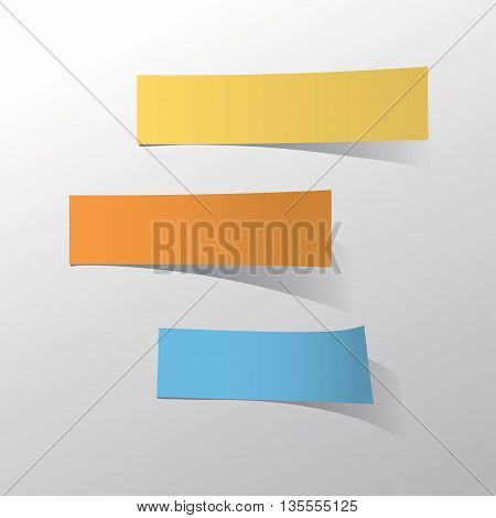 blank 3 color stick note paper on white background .