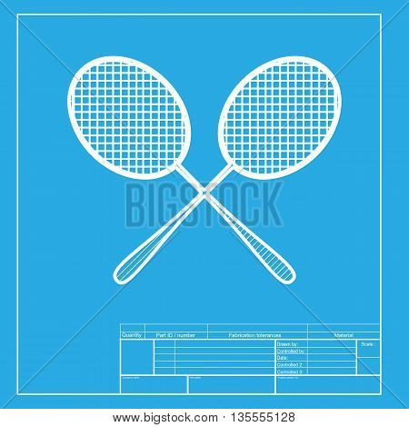 Tennis racquets sign. White section of icon on blueprint template.