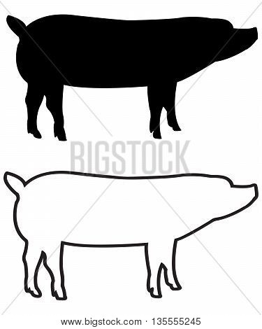PIG swine silhouette and outline vector agriculture animal