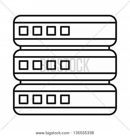 Database icon in outline style isolated on white background