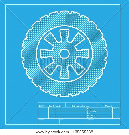 Road tire sign. White section of icon on blueprint template.