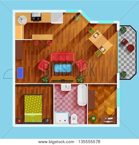 One bedroom apartment floor Plan with kitchen dinning area balcony bathroom and rooms for study and leisure flat vector illustration