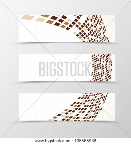 Set of banner wave design. Light banner for header with brown and gray rectangles. Design of banner in geometric style. Vector illustration