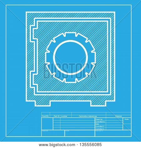 Safe sign illustration. White section of icon on blueprint template.