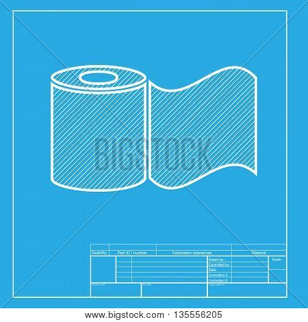 Toilet Paper sign. White section of icon on blueprint template.